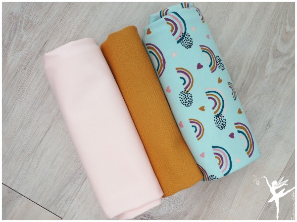 Stoffpaket Jersey Regenbogen Mint/Rosa/Ocker