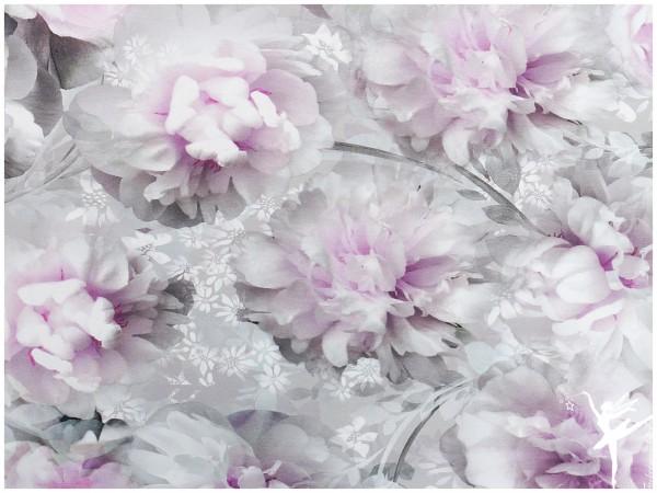 Mandy Digital Jersey Blumenmotiv Rosen Flieder/Hellgrau