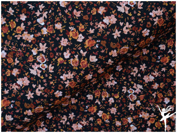 Digital Jersey Aquarell Streublumen Schwarz/Rose/Orange