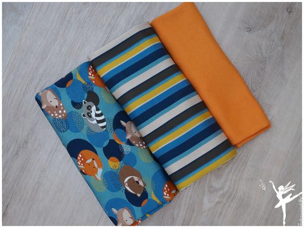 Stoffpaket Jersey Steinbeck Waldtiere/Streifen Blau/Orange