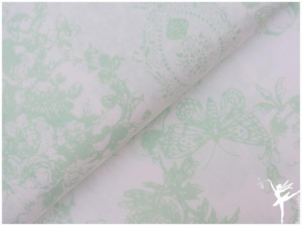 STENZO Romantic Barock Baumwolle Weiß/Minzegrün