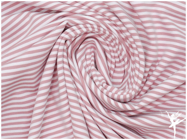ISA Ringel Jersey Altrosa/Weiß 4 mm Stripes