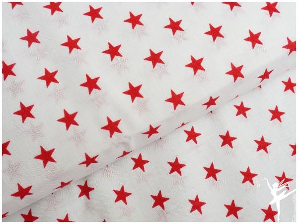 Baumwolle Kleine Sterne Weiß/Rot