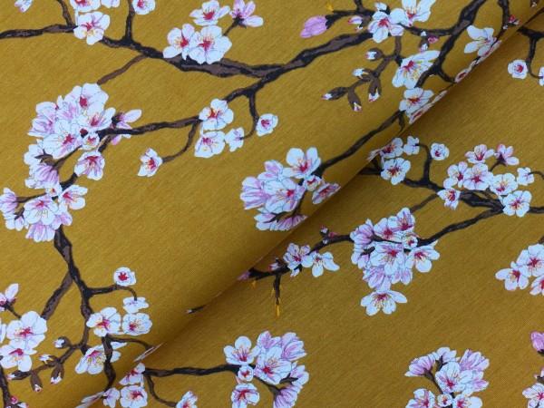 Modal Jersey Kirschblüten Senf