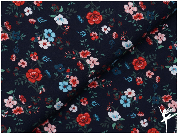 Digital Jersey Romantic Flowers Blau
