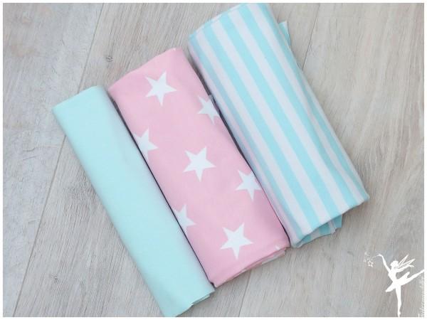 Stoffpaket Jersey Mint/RosaWeiß Sterne/Streifen