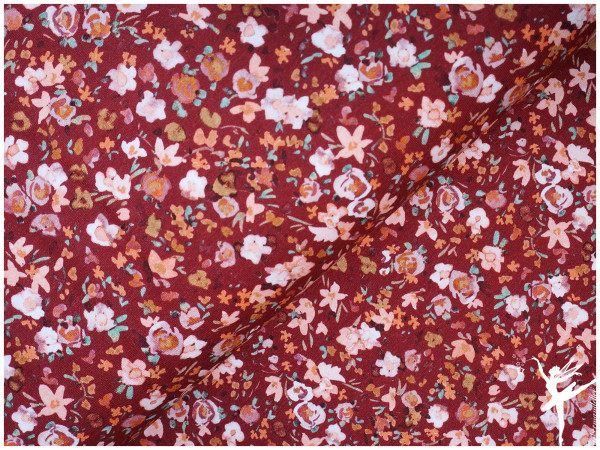 Digital Jersey Aquarell Streublumen Weinrot/Rosa/Orange