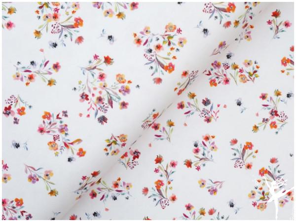 Digital Jersey Sommer-Blumen Weiß