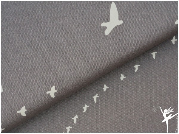 BIO CANVAS Baumwolle Birch Fabrics Grau Vögel