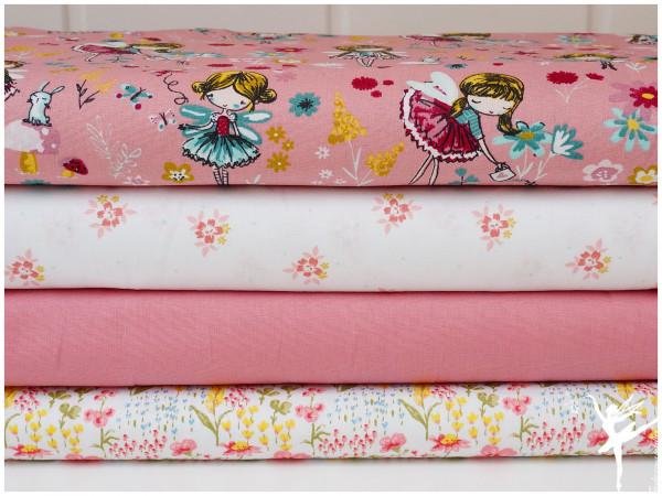 ♥ Stoffpaket 2 Meter Altrosa Fee/Blumen Baumwolle ♥