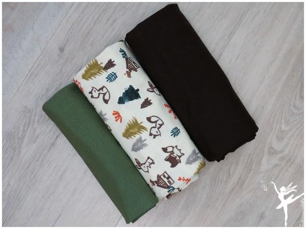 Stoffpaket Jersey Waldtiere Cream/Braun/Olive