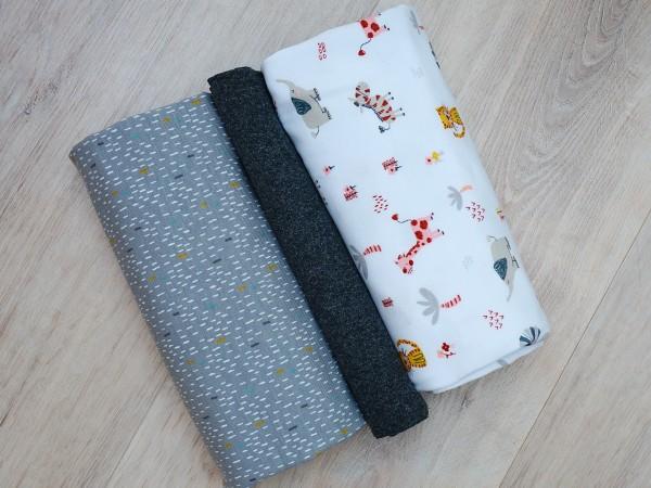 Stoffpaket Jersey Afrika Tiere Grau/Weiß/Ocker