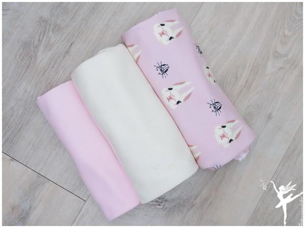 Stoffpaket Jersey/Ajour Hasen Rosa/Cream