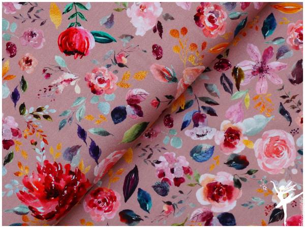 Digital Jersey Painted Flowers Altrosa