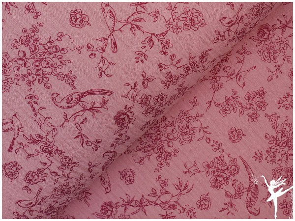 Double Gauze/Musselin Rosa Shabby Vögel