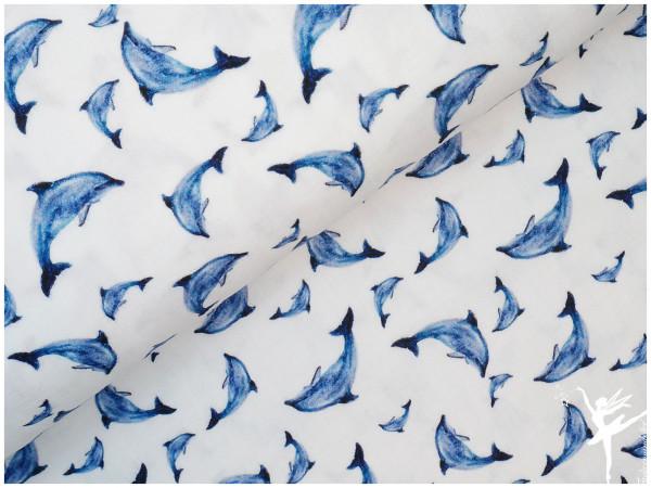 Double Gauze/Musselin Delfine Weiß/Blau
