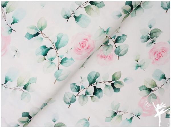 Eukalyptus,Jersey Blüten Weiß/Grün/Rosa