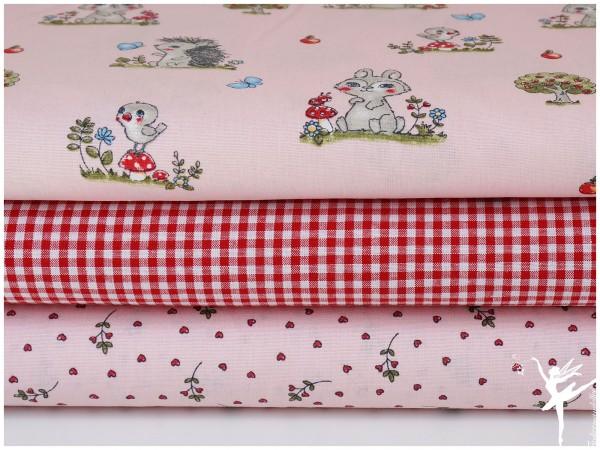 ♥ Stoffpaket 1,5 Meter Waldtiere Rosa/Rot Baumwolle ♥