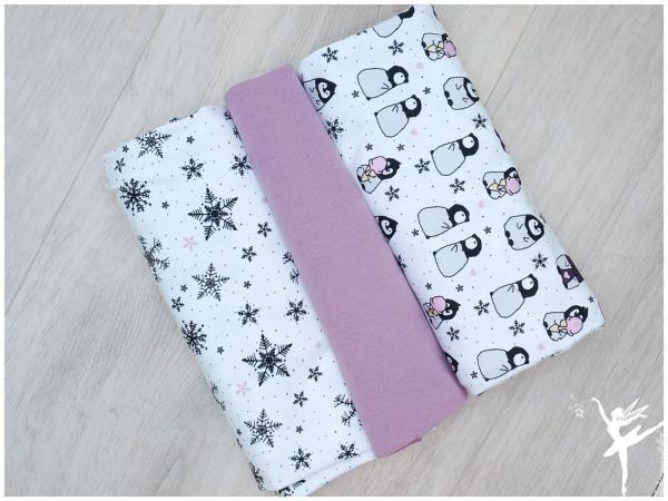 Stoffpaket Jersey Pinguine Rosa/Weiß/Flieder