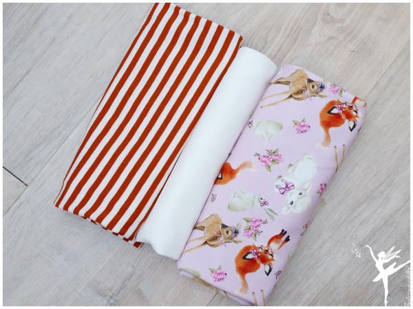 Stoffpaket Sweat/Jersey Tiere Ringel Rosa/Senf/Cream