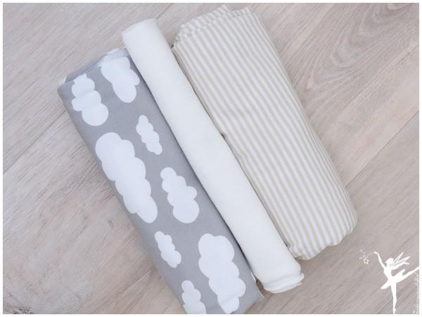 Stoffpaket Wolken/Ringel Hellgrau/Beige