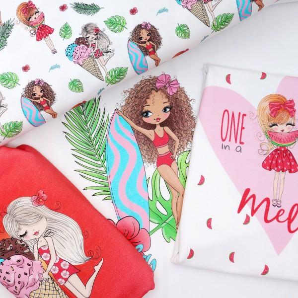 Summer Girls Panel Digital Jersey 3 Motive Weiß/Rosa/Rot