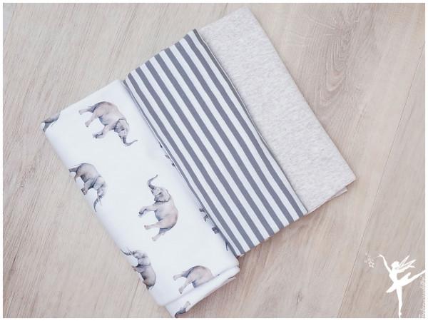 Stoffpaket Jersey Elefanten/Ringel Grau/Weiß/Beige