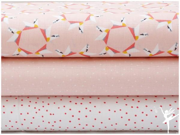 ♥ Stoffpaket 1,5 Meter Charming Swans Peach Baumwolle ♥