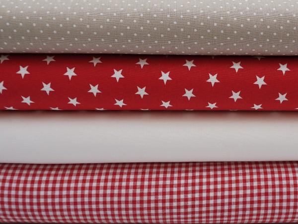 ♥ Weihnachten Stoffpaket 2 Meter Rot/Weiß/Beige ♥