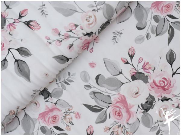 Theo Jersey große Blumen Weiß/Grau/Rosa