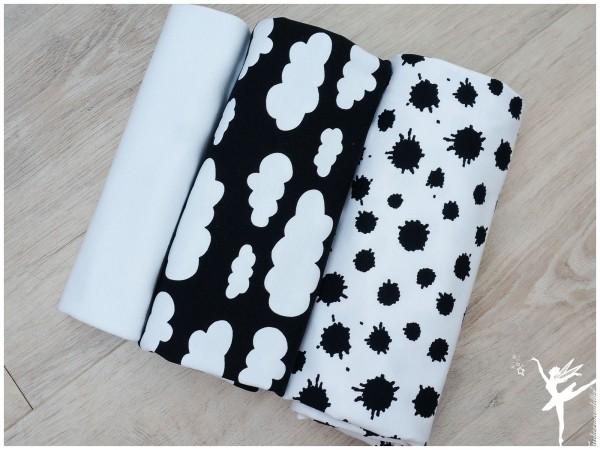Stoffpaket Jersey Black+White Wolken/Farbklecks