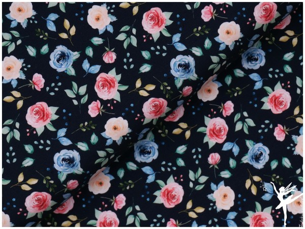 Digital Jersey Blumenmotiv Dunkelblau