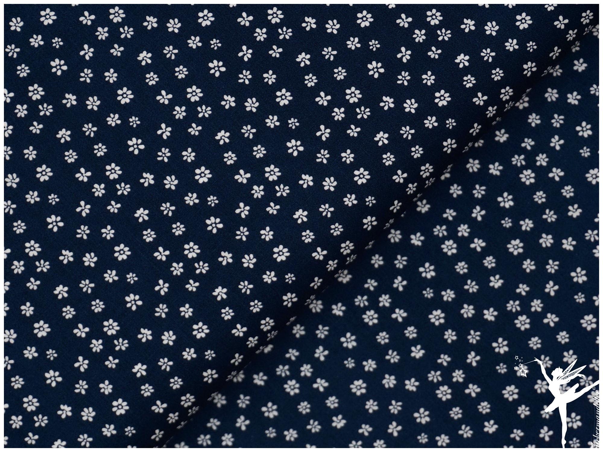 0,5 m Stoff Baumwolle ♥ Ökotex ♥ Streublümchen hellblau  ♥ Blumen  blau