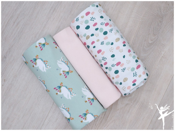 Stoffpaket Jersey Glitter Swan/Dots Minze/Rosa
