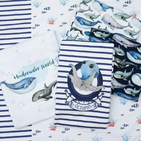 Underwater World Panel Digital Jersey 3 Motive Weiß/Blau