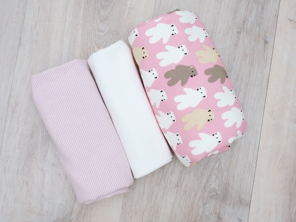 Stoffpaket Alpensweat/Jersey Rosa Eisbären Ringel