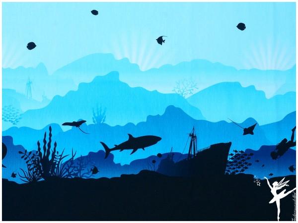 Er ist da!! Fische Wild Shadows Jersey by Lycklig Design Blau