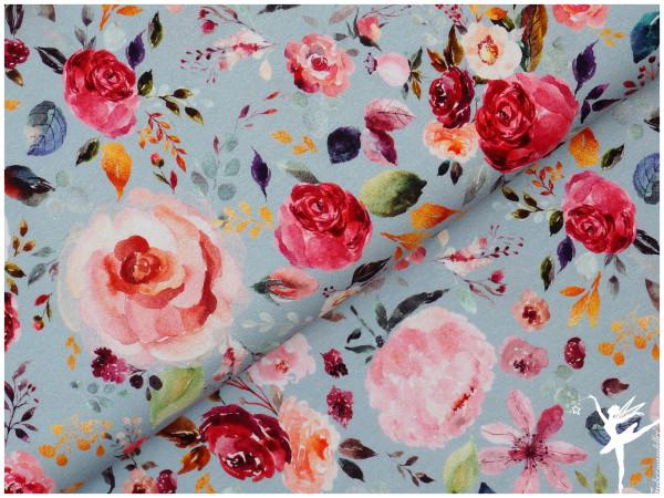 Digital Jersey Painted Flowers helles Blau-Grau