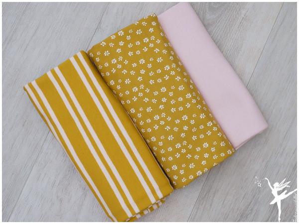 Stoffpaket Jersey Mini Blümchen/StreifenSenf/Rosa
